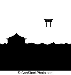gate., ereklyetartó, shinto, torii