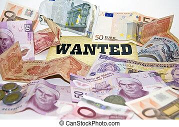 gazdasági, crisis., pénz, wanted.