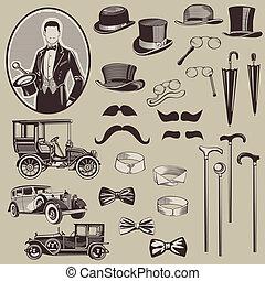 gentlemen's, öreg, autók, -, segédszervek, magas, vektor, set-, minőség