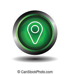 geo, mutató, elhelyezés, gombostű, ikon