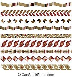 geometriai, díszítés, seamless, afrikai