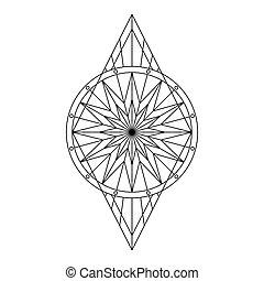 geometriai, fekete, motívum, virágos, jelkép, stilizált
