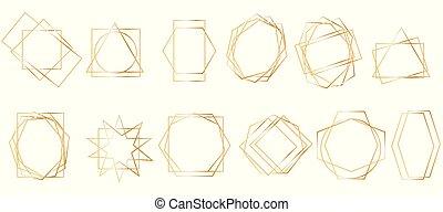geometriai, frames., arany-