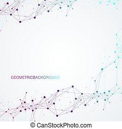 geometriai, illustration., hálózat, vektor, háttér., globális, dots., technikai, egyenes, érzék, összekapcsolt, elvont, összeköttetés