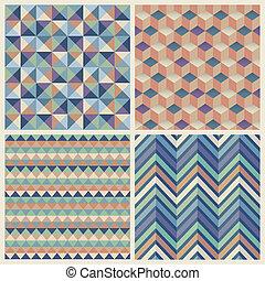 geometriai, köb, seamless, háttér, set.