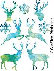 geometriai, karácsony, vektor, őz