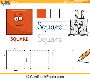 geometriai, karikatúra, alapvető, alakzat