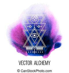 geometriai, vektor, jelkép, alkímia