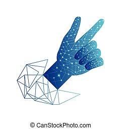 geometrics, elektromos, emberi, megvonalaz, kéz, áramkör
