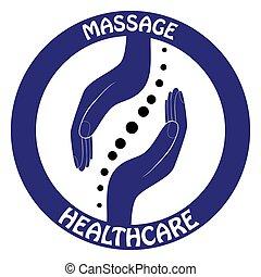 gerinc kezelése, gerinc, jelkép, -, kéz, gerinci, vektor, jel, template., design.