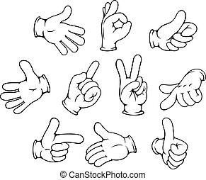 gesztikulál, állhatatos, karikatúra, kéz