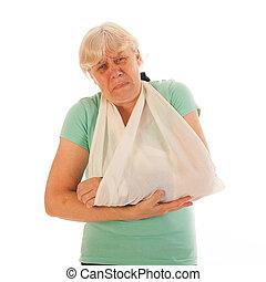 gipsz, öreg, törött, nő, csukló, fáj