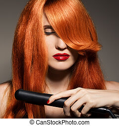 girl., hair., egészséges, hosszú, gyönyörű