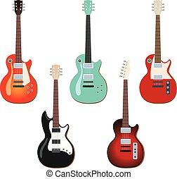 gitár, állhatatos, elektromos