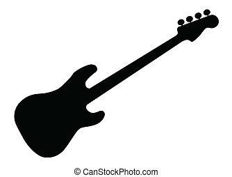 gitár, árnykép, basszus