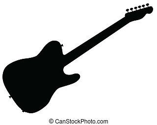 gitár, árnykép, kő