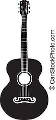gitár, akusztikai, árnykép