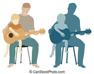 gitár, atya, fiú