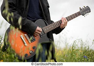 gitár, becsuk, ember, feláll, játék
