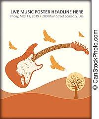 gitár, birds., elektromos, táj