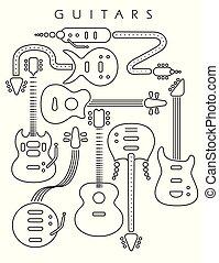 gitár, egyenes, fekete, fehér, ábra