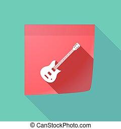 gitár, elektromos, hosszú, árnyék, jegyzet