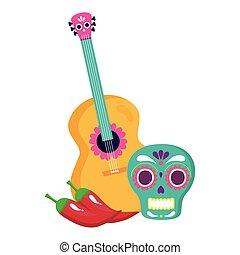 gitár, fehér, koponya, peppers, mexikói, háttér, csilipaprika