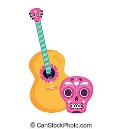 gitár, fehér, koponya, rózsaszínű, mexikói, háttér
