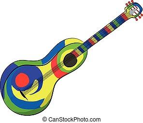 gitár, fehér, mexikói, háttér