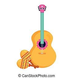 gitár, fehér, mexikói, háttér, maracas