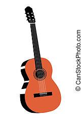 gitár, fehér, rajz, háttér