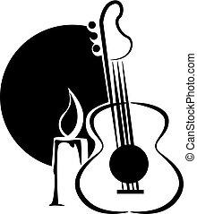 gitár, gyertya, karikatúra