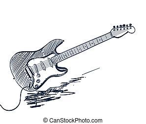 gitár, húzott, fehér, elektromos, kéz