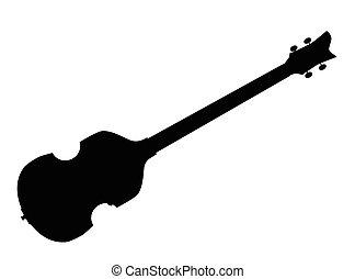 gitár, hegedű, mód, árnykép, basszus