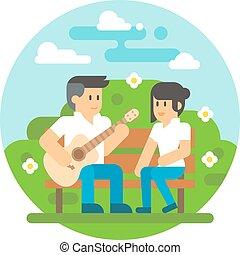 gitár, lakás, párosít, tervezés, játék
