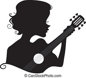 gitár, leány, árnykép