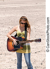 gitár, leány