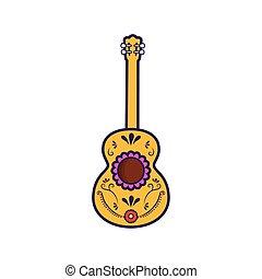 gitár, mexikói, white háttér