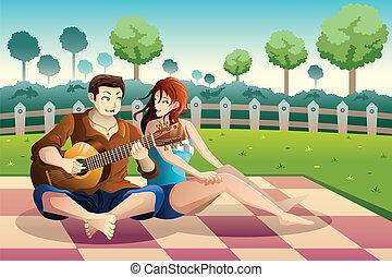 gitár, párosít, liget, játék együtt
