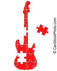 gitár, rejtvény, fogalom, vektor