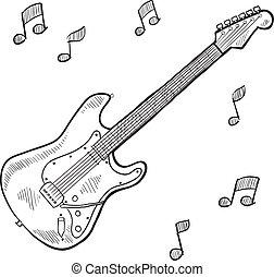 gitár, skicc, elektromos