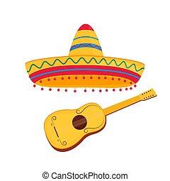 gitár, szombréró, spanyol, mexikói, fehér, elszigetelt, vektor, háttér, ábra