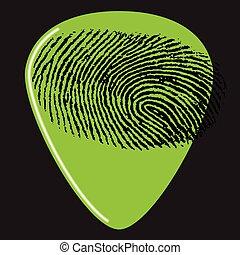gitár, ujjlenyomat, csákány
