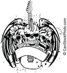 gitár, vacak, koponya