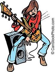 gitáros, fiatal, kő