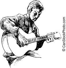 gitáros, fiatal