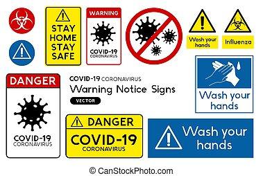 globális, cégtábla, figyelmeztetés, országos járvány, covid-19