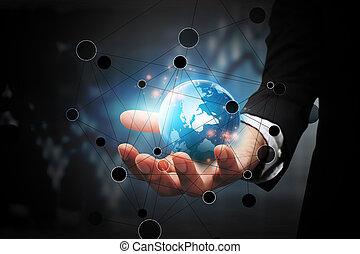globális, connection., ügy