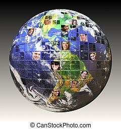 globális, emberek, hálózat