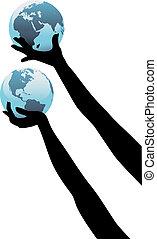 globális, feláll, személy, földdel feltölt, kézbesít, világ, befolyás